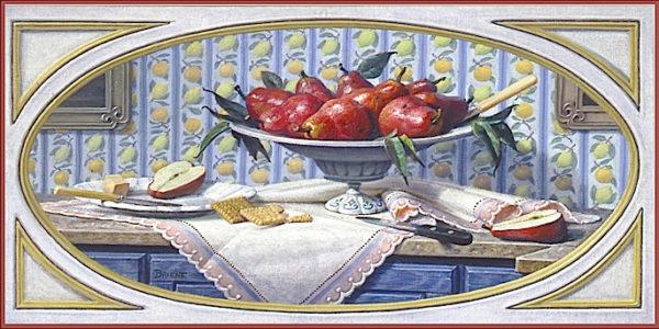Un Plateau de poires rouges sur un buffet bleu