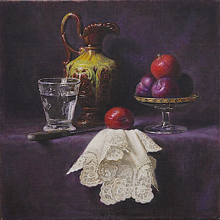 A Jug, a glass of water and plums
