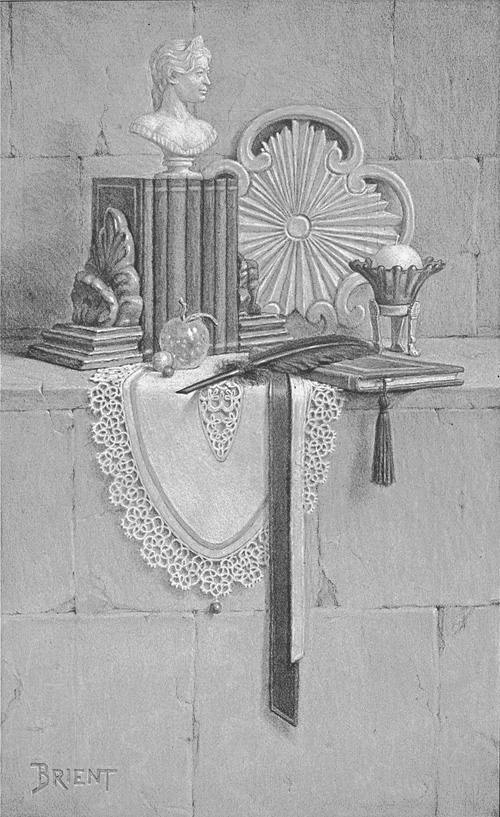 Drawing with books, a feather, ribbons and a lace mat