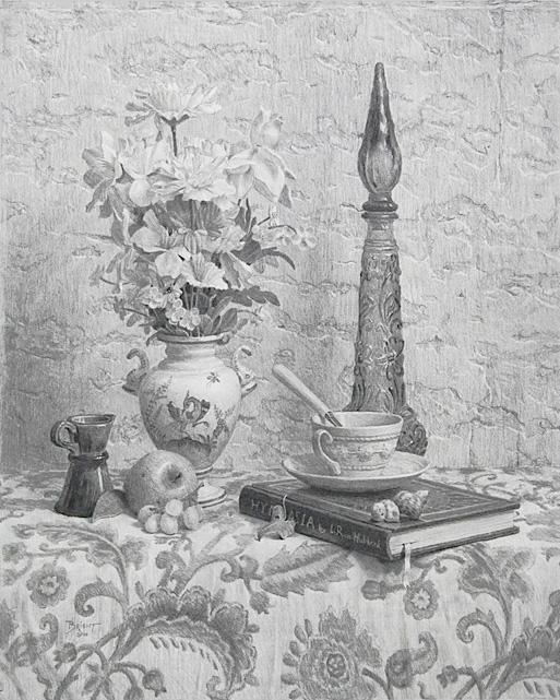 Dessin avec un bouquet de fleurs de soie