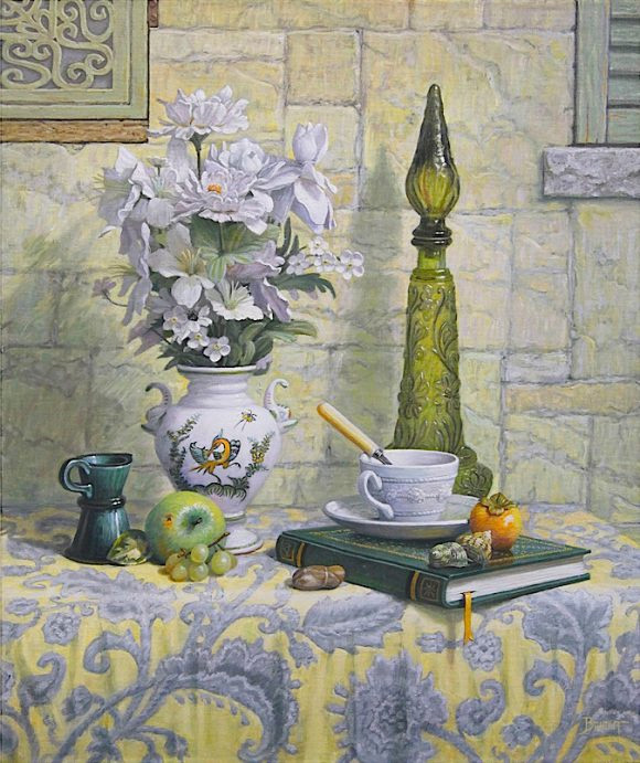 Still life with a Moustier vase